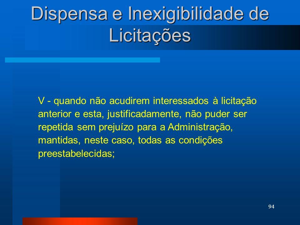 Dispensa e Inexigibilidade de Licitações