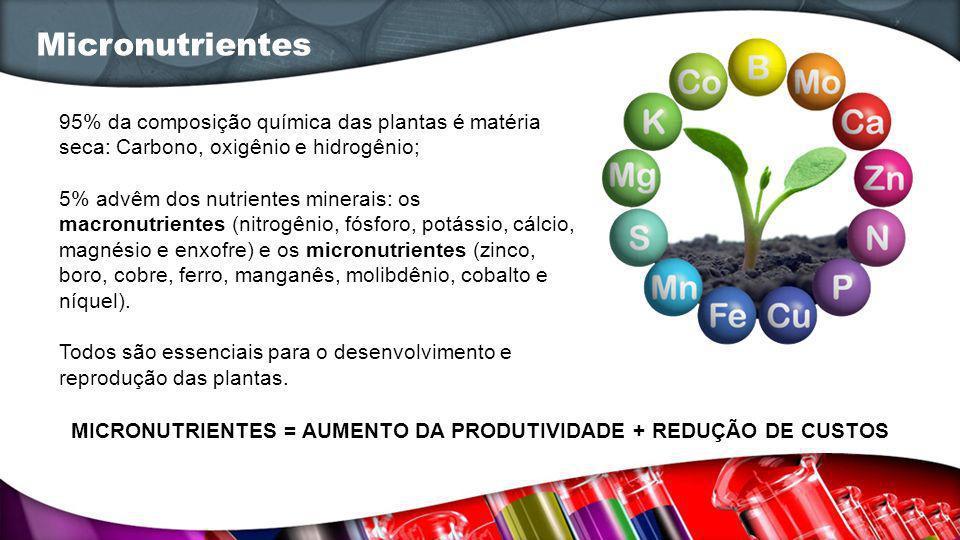 MICRONUTRIENTES = AUMENTO DA PRODUTIVIDADE + REDUÇÃO DE CUSTOS
