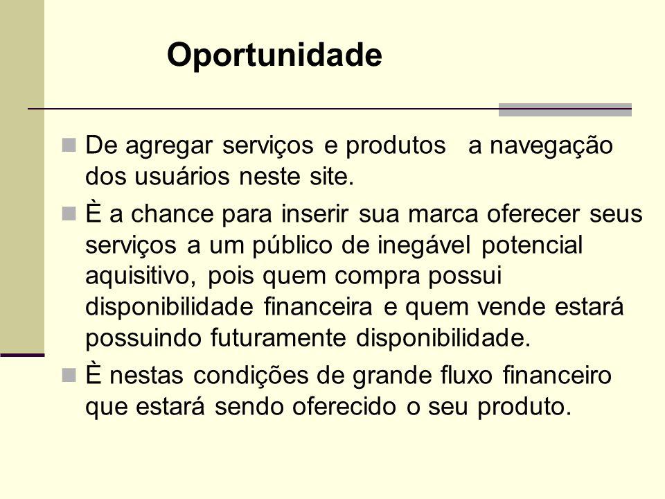 Oportunidade De agregar serviços e produtos a navegação dos usuários neste site.