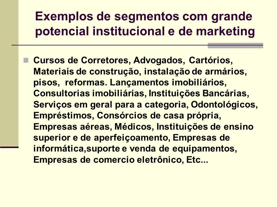 Exemplos de segmentos com grande potencial institucional e de marketing