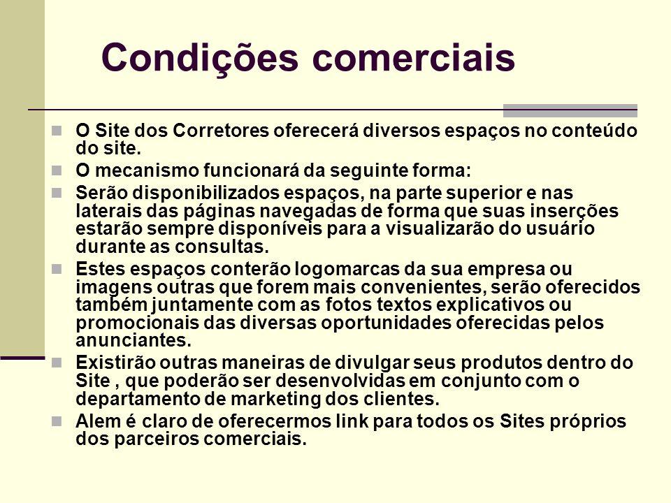 Condições comerciais O Site dos Corretores oferecerá diversos espaços no conteúdo do site. O mecanismo funcionará da seguinte forma: