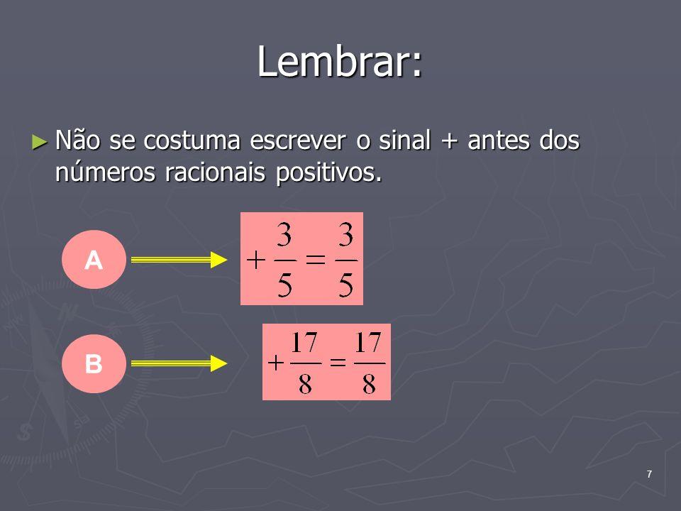 Lembrar: Não se costuma escrever o sinal + antes dos números racionais positivos. A B