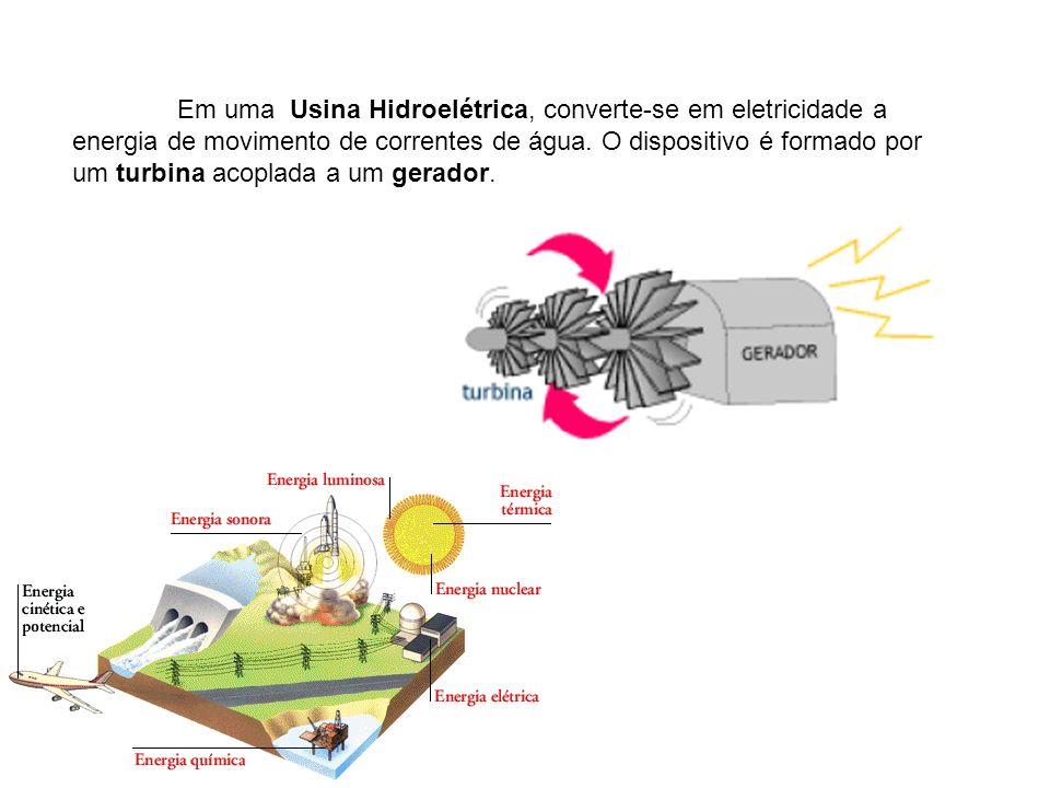 Em uma Usina Hidroelétrica, converte-se em eletricidade a energia de movimento de correntes de água.