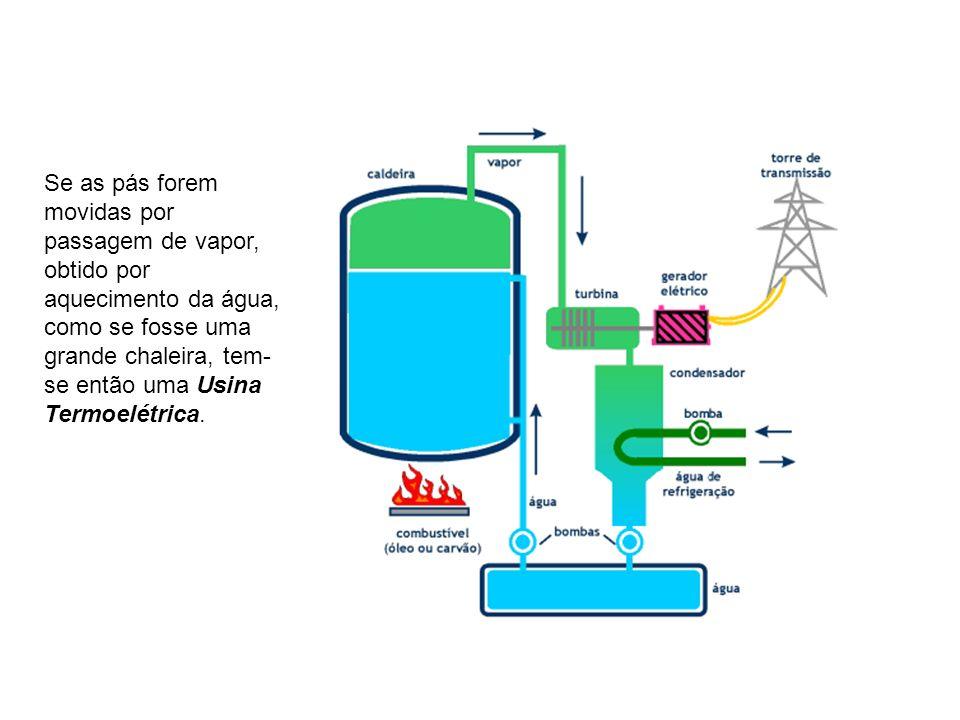 Se as pás forem movidas por passagem de vapor, obtido por aquecimento da água, como se fosse uma grande chaleira, tem-se então uma Usina Termoelétrica.