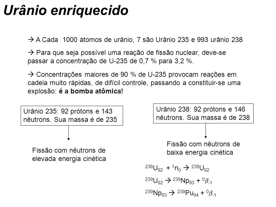 Urânio enriquecido  A Cada 1000 átomos de urânio, 7 são Urânio 235 e 993 urânio 238.