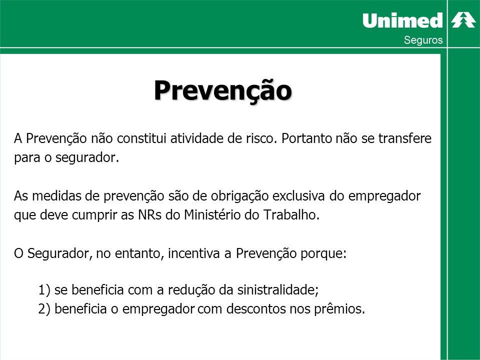 Prevenção A Prevenção não constitui atividade de risco. Portanto não se transfere. para o segurador.