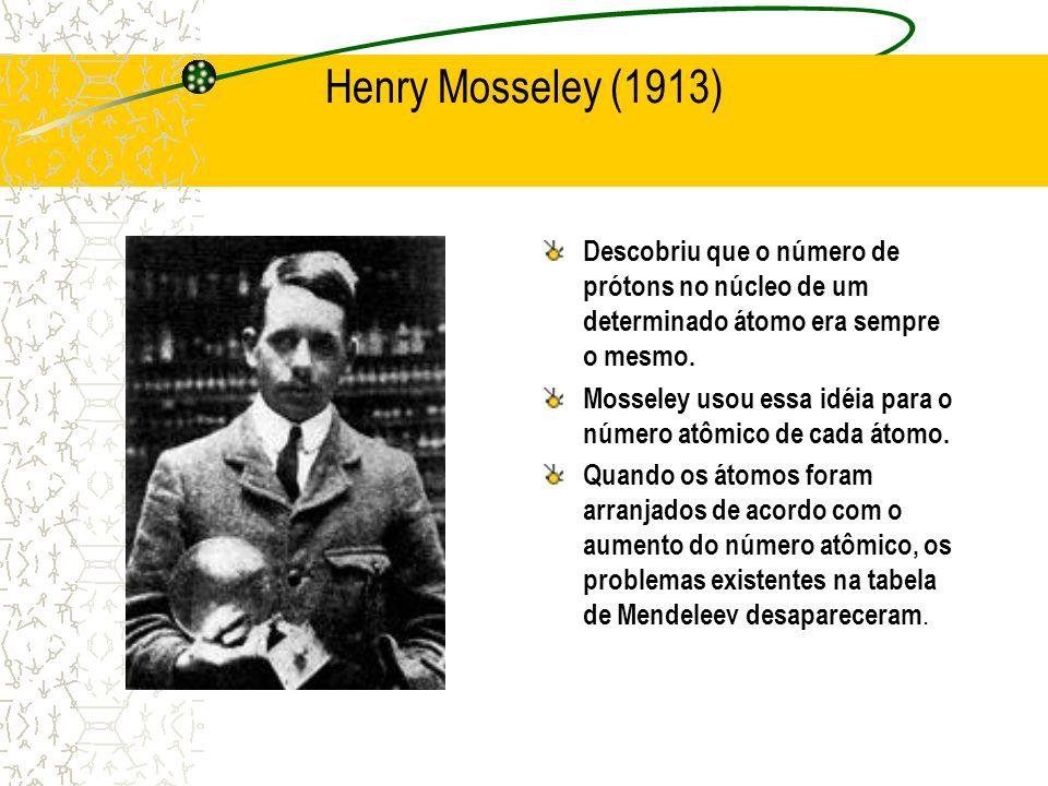 Henry Mosseley (1913) Descobriu que o número de prótons no núcleo de um determinado átomo era sempre o mesmo.