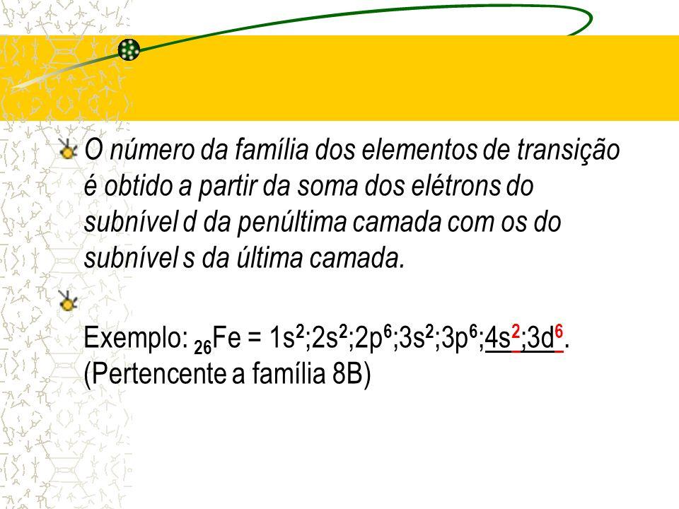 O número da família dos elementos de transição é obtido a partir da soma dos elétrons do subnível d da penúltima camada com os do subnível s da última camada.