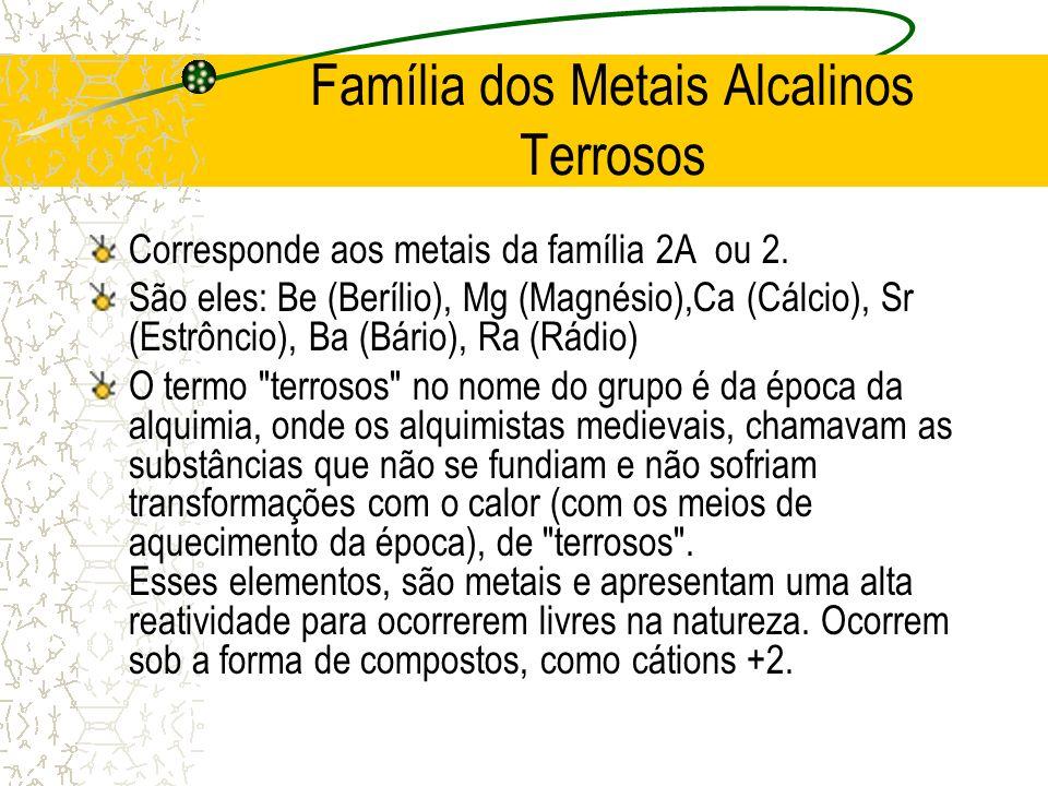 Família dos Metais Alcalinos Terrosos