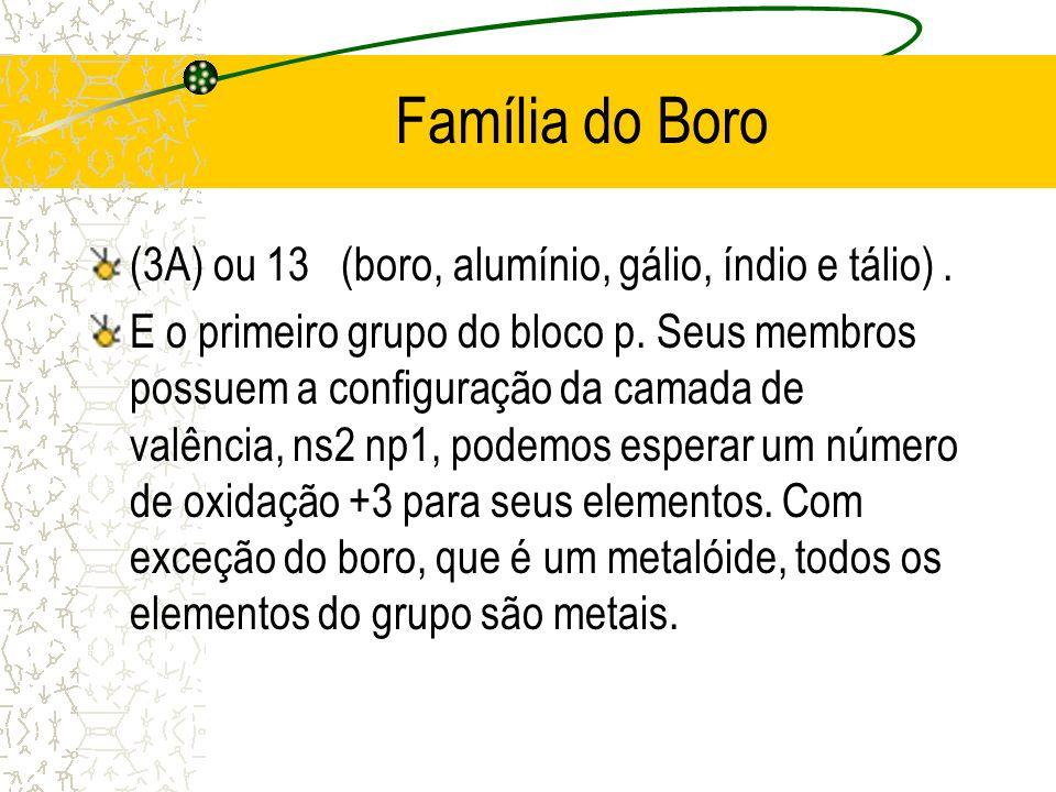 Família do Boro (3A) ou 13 (boro, alumínio, gálio, índio e tálio) .