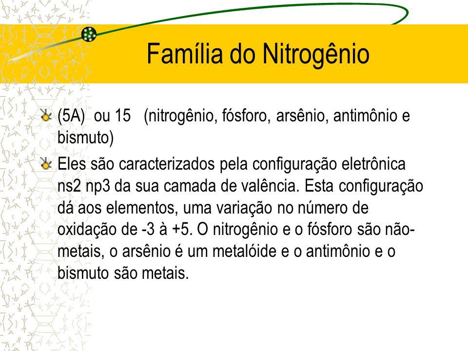 Família do Nitrogênio (5A) ou 15 (nitrogênio, fósforo, arsênio, antimônio e bismuto)