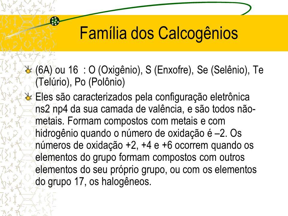 Família dos Calcogênios
