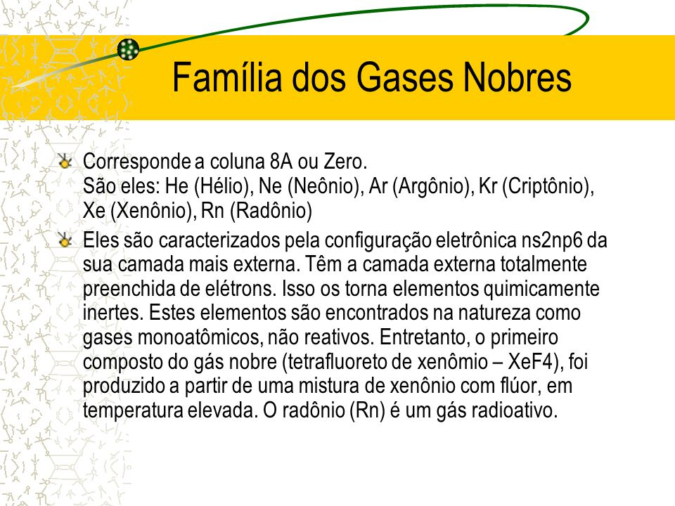 Família dos Gases Nobres