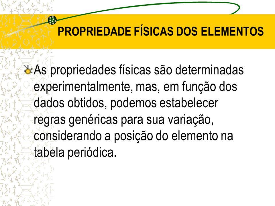 PROPRIEDADE FÍSICAS DOS ELEMENTOS