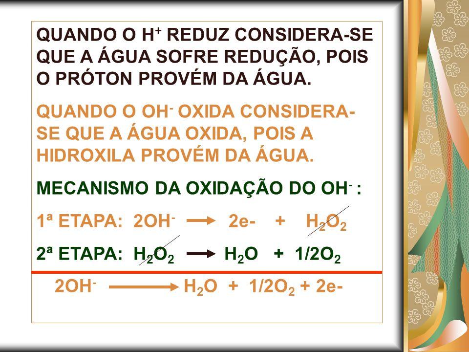 QUANDO O H+ REDUZ CONSIDERA-SE QUE A ÁGUA SOFRE REDUÇÃO, POIS O PRÓTON PROVÉM DA ÁGUA.