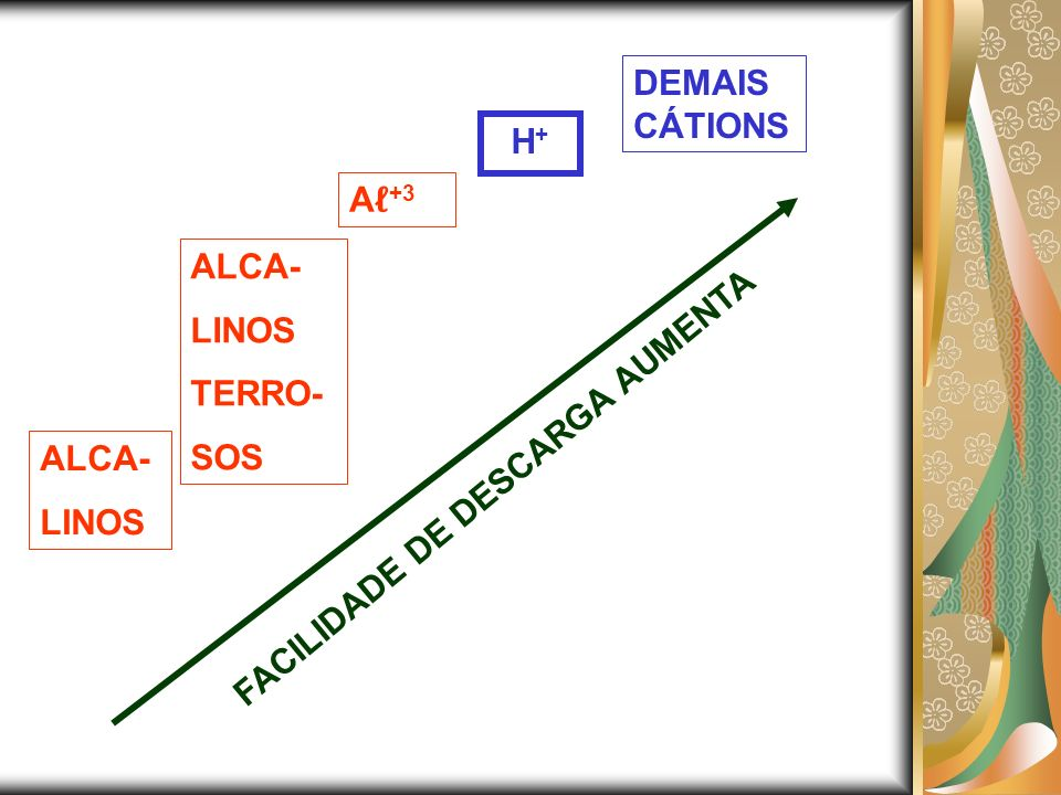 DEMAISCÁTIONS H+ Aℓ+3 ALCA- LINOS TERRO- SOS FACILIDADE DE DESCARGA AUMENTA ALCA- LINOS