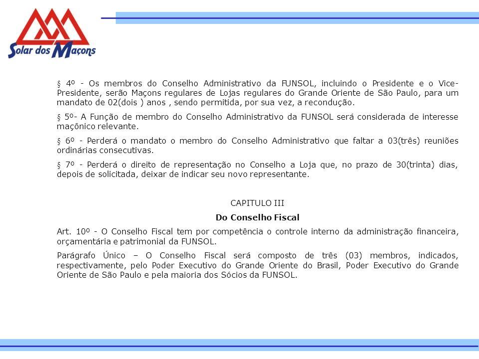 § 4º - Os membros do Conselho Administrativo da FUNSOL, incluindo o Presidente e o Vice-Presidente, serão Maçons regulares de Lojas regulares do Grande Oriente de São Paulo, para um mandato de 02(dois ) anos , sendo permitida, por sua vez, a recondução.