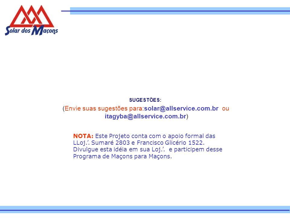 SUGESTÕES: (Envie suas sugestões para:solar@allservice.com.br ou itagyba@allservice.com.br)