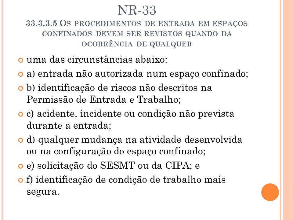 NR-33 33.3.3.5 Os procedimentos de entrada em espaços confinados devem ser revistos quando da ocorrência de qualquer