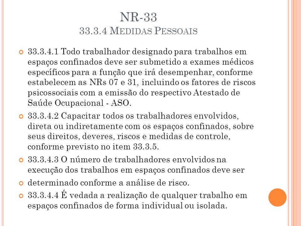 NR-33 33.3.4 Medidas Pessoais