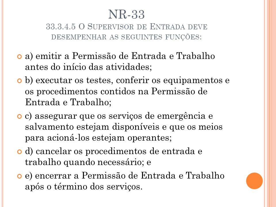 NR-33 33.3.4.5 O Supervisor de Entrada deve desempenhar as seguintes funções: