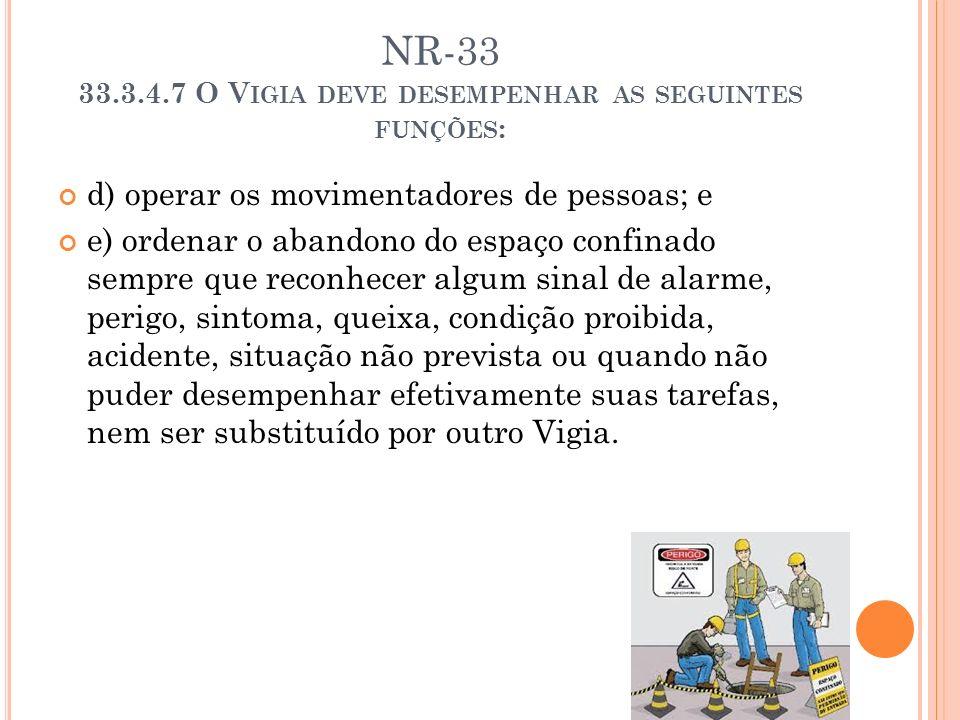 NR-33 33.3.4.7 O Vigia deve desempenhar as seguintes funções:
