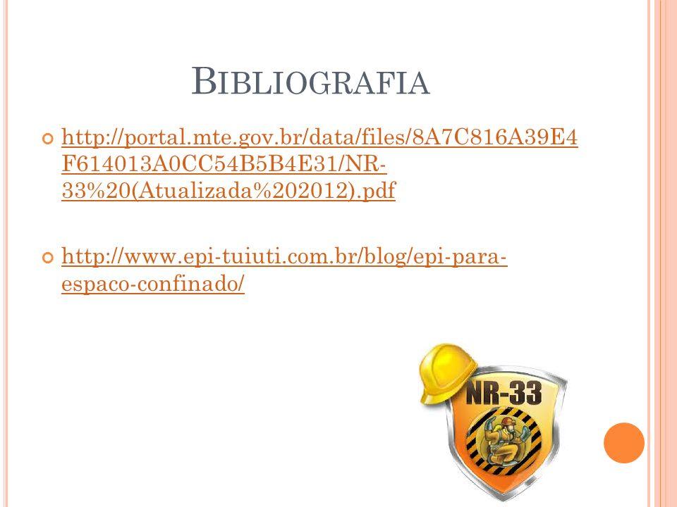 Bibliografia http://portal.mte.gov.br/data/files/8A7C816A39E4 F614013A0CC54B5B4E31/NR- 33%20(Atualizada%202012).pdf.
