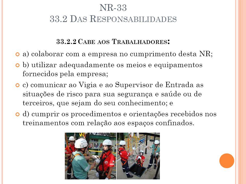 NR-33 33.2 Das Responsabilidades 33.2.2 Cabe aos Trabalhadores: