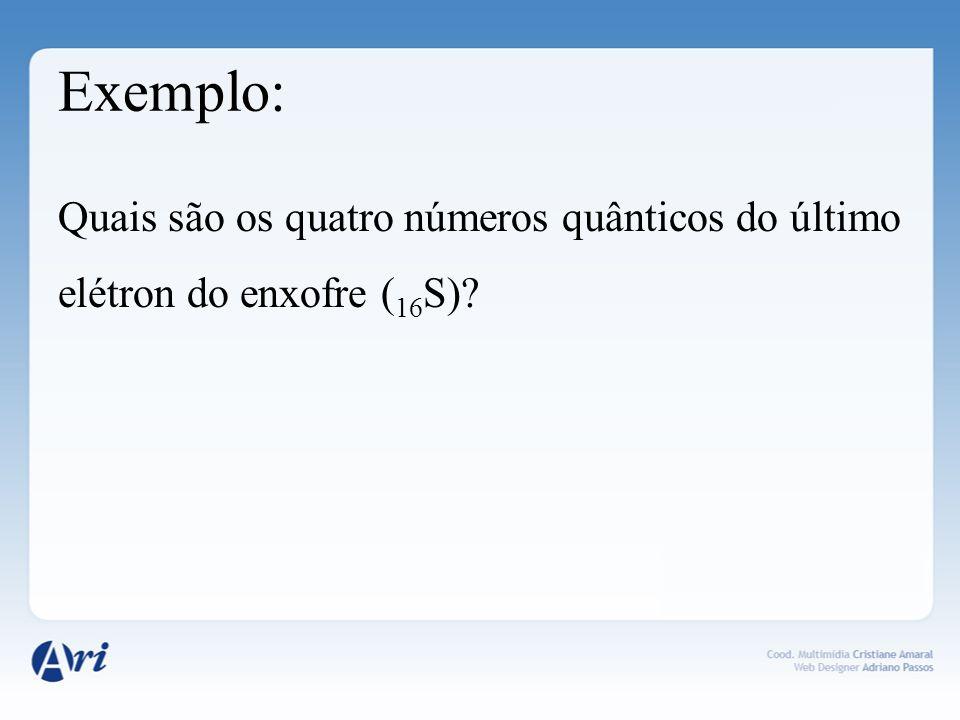 Exemplo: Quais são os quatro números quânticos do último elétron do enxofre (16S)