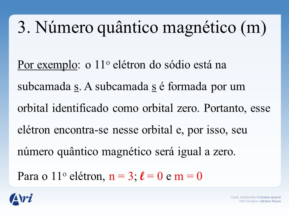 3. Número quântico magnético (m)