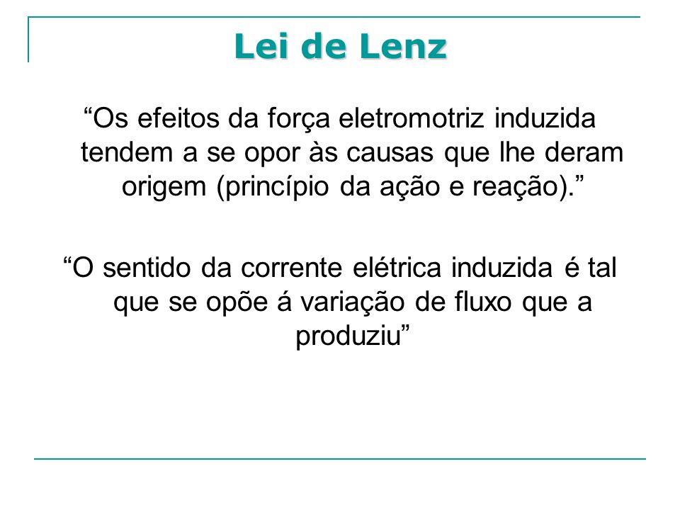 Lei de Lenz Os efeitos da força eletromotriz induzida tendem a se opor às causas que lhe deram origem (princípio da ação e reação).