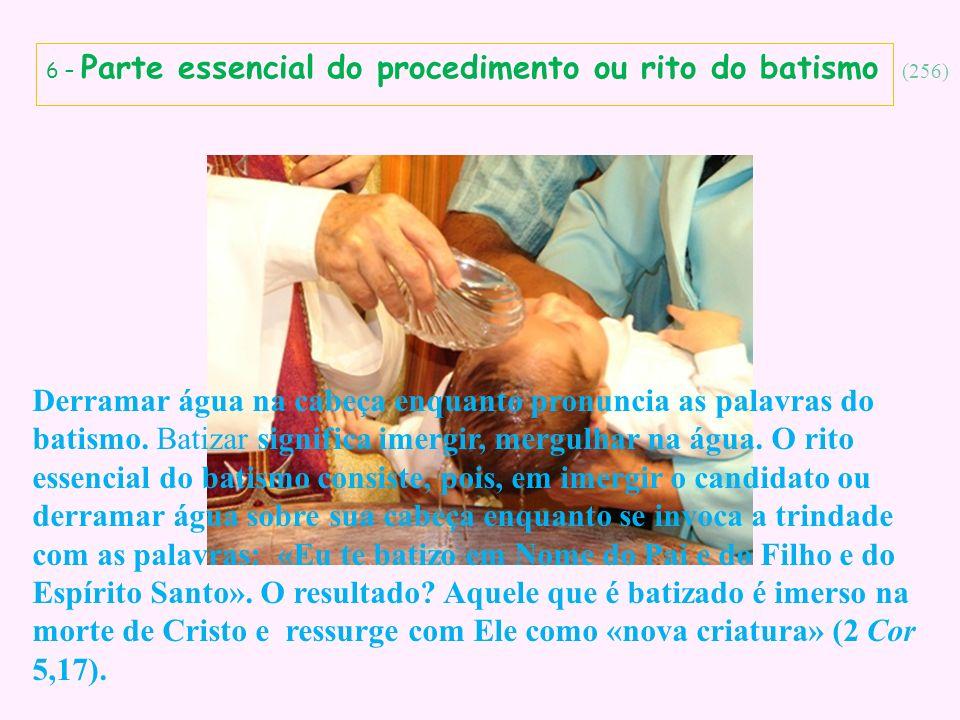 6 – Parte essencial do procedimento ou rito do batismo