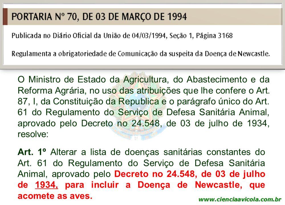 O Ministro de Estado da Agricultura, do Abastecimento e da Reforma Agrária, no uso das atribuições que lhe confere o Art. 87, I, da Constituição da Republica e o parágrafo único do Art. 61 do Regulamento do Serviço de Defesa Sanitária Animal, aprovado pelo Decreto no 24.548, de 03 de julho de 1934, resolve:
