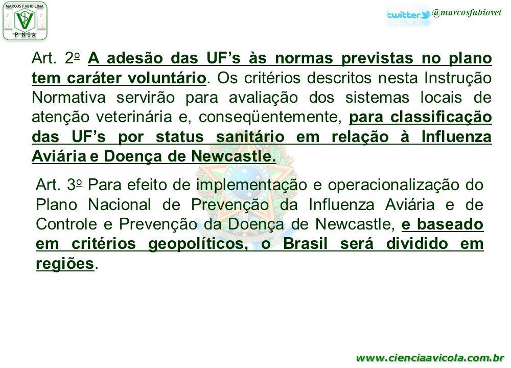 Art. 2o A adesão das UF's às normas previstas no plano tem caráter voluntário. Os critérios descritos nesta Instrução Normativa servirão para avaliação dos sistemas locais de atenção veterinária e, conseqüentemente, para classificação das UF's por status sanitário em relação à Influenza Aviária e Doença de Newcastle.