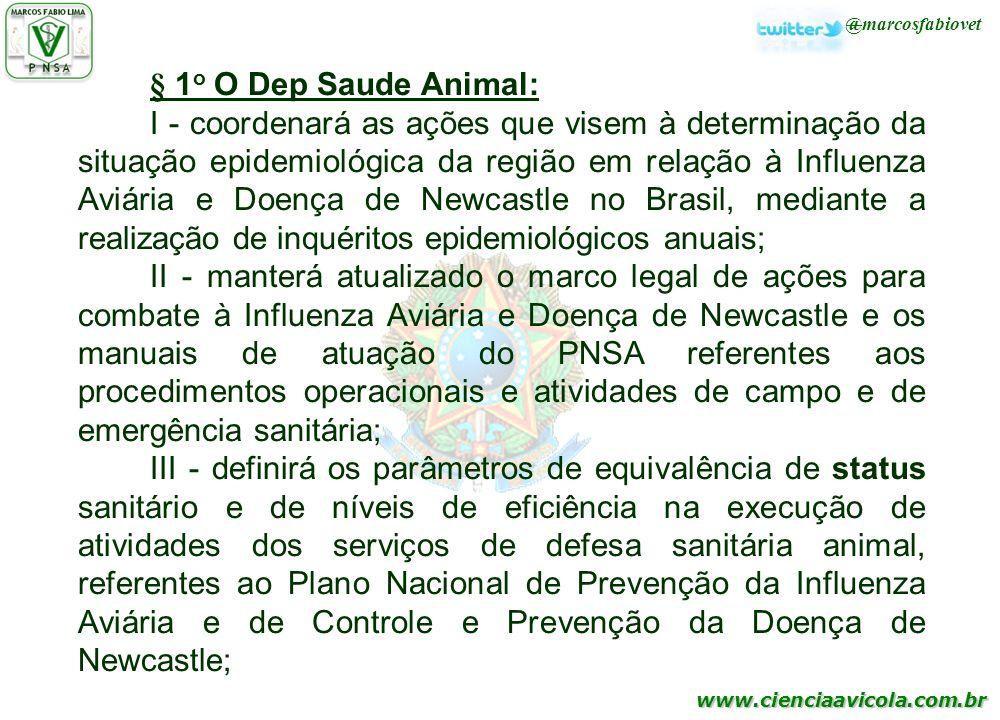 § 1o O Dep Saude Animal:
