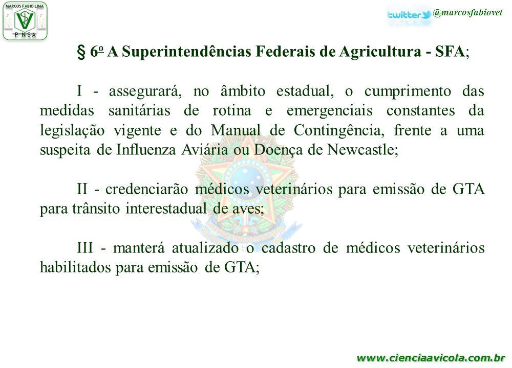 § 6o A Superintendências Federais de Agricultura - SFA;
