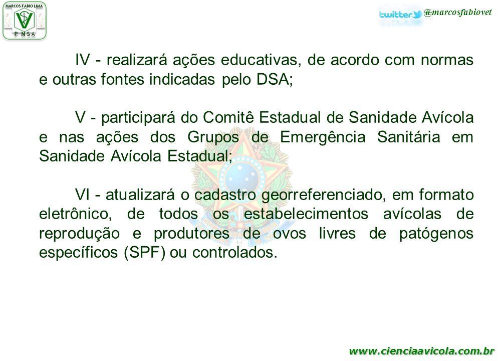 IV - realizará ações educativas, de acordo com normas e outras fontes indicadas pelo DSA;