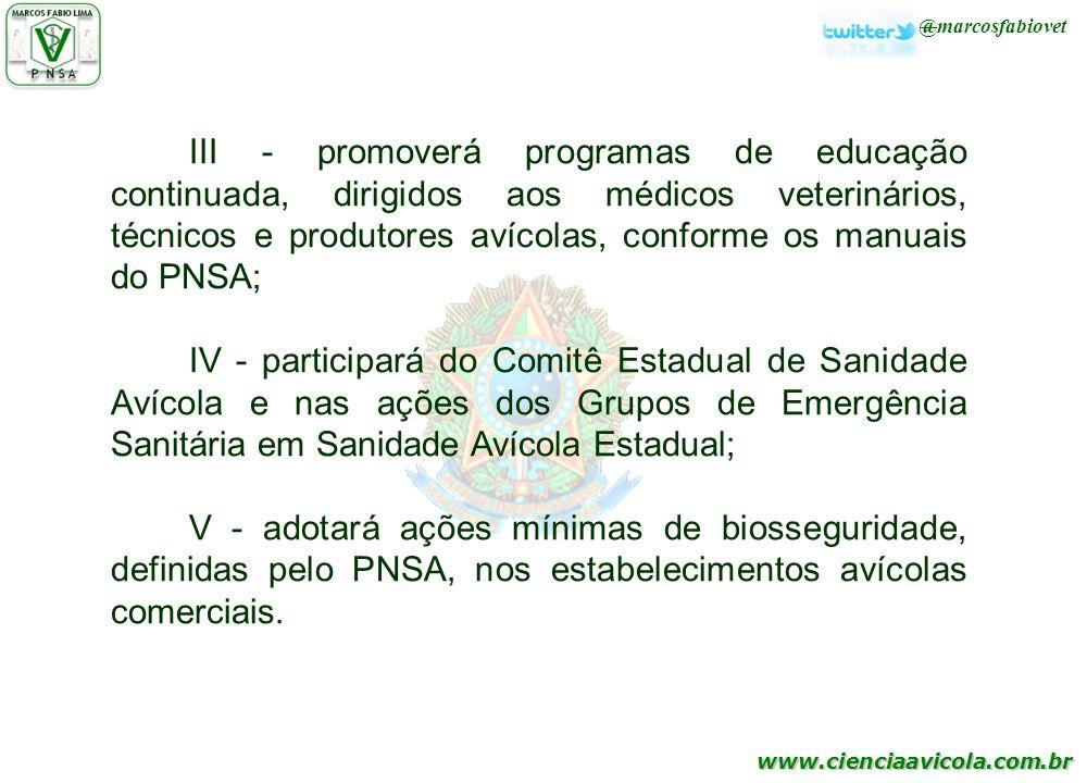 III - promoverá programas de educação continuada, dirigidos aos médicos veterinários, técnicos e produtores avícolas, conforme os manuais do PNSA;