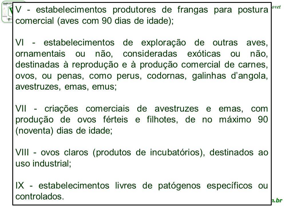 IX - estabelecimentos livres de patógenos específicos ou controlados.