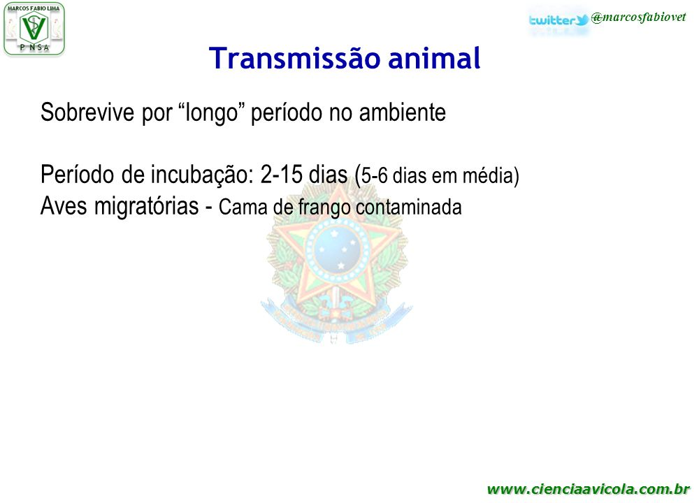 Transmissão animal Sobrevive por longo período no ambiente