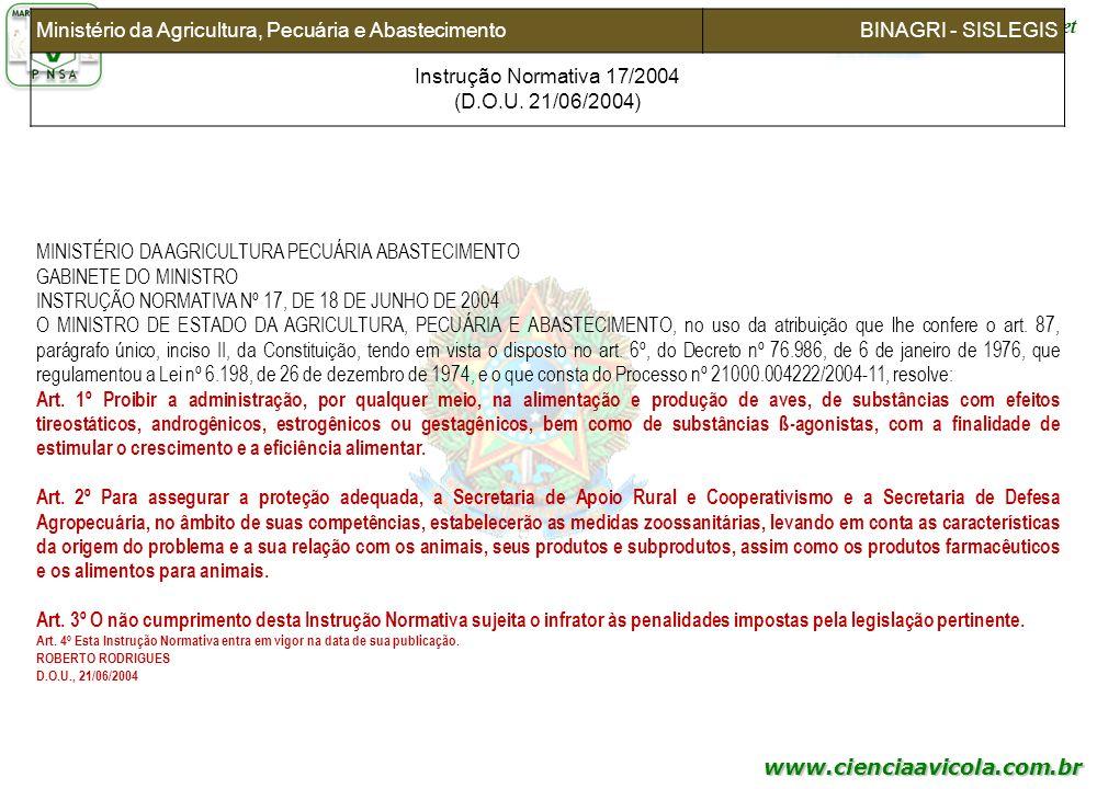 Instrução Normativa 17/2004 (D.O.U. 21/06/2004)
