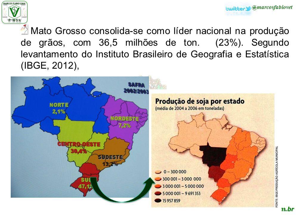Mato Grosso consolida-se como líder nacional na produção de grãos, com 36,5 milhões de ton. (23%). Segundo levantamento do Instituto Brasileiro de Geografia e Estatística (IBGE, 2012),