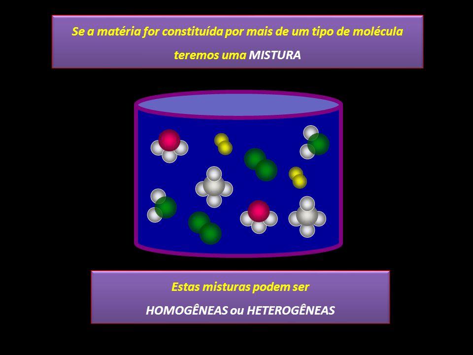 Estas misturas podem ser HOMOGÊNEAS ou HETEROGÊNEAS