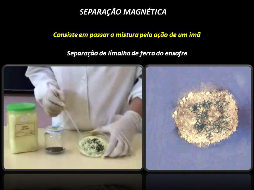 SEPARAÇÃO MAGNÉTICA Consiste em passar a mistura pela ação de um imã