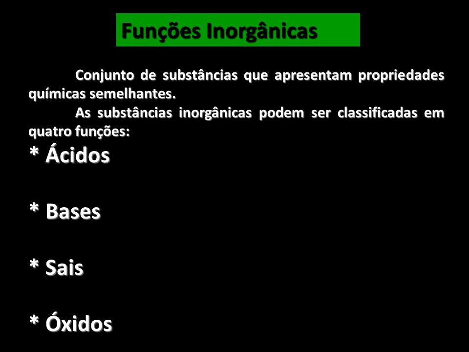 Funções Inorgânicas * Ácidos * Bases * Sais * Óxidos