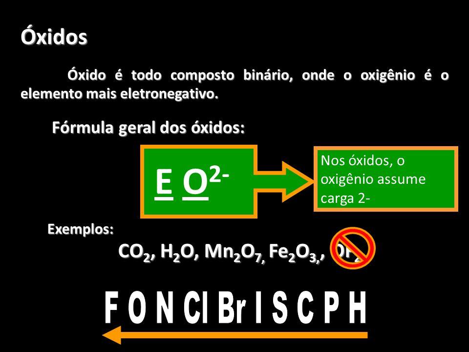 E O2- Óxidos F O N Cl Br I S C P H CO2, H2O, Mn2O7, Fe2O3,, OF2