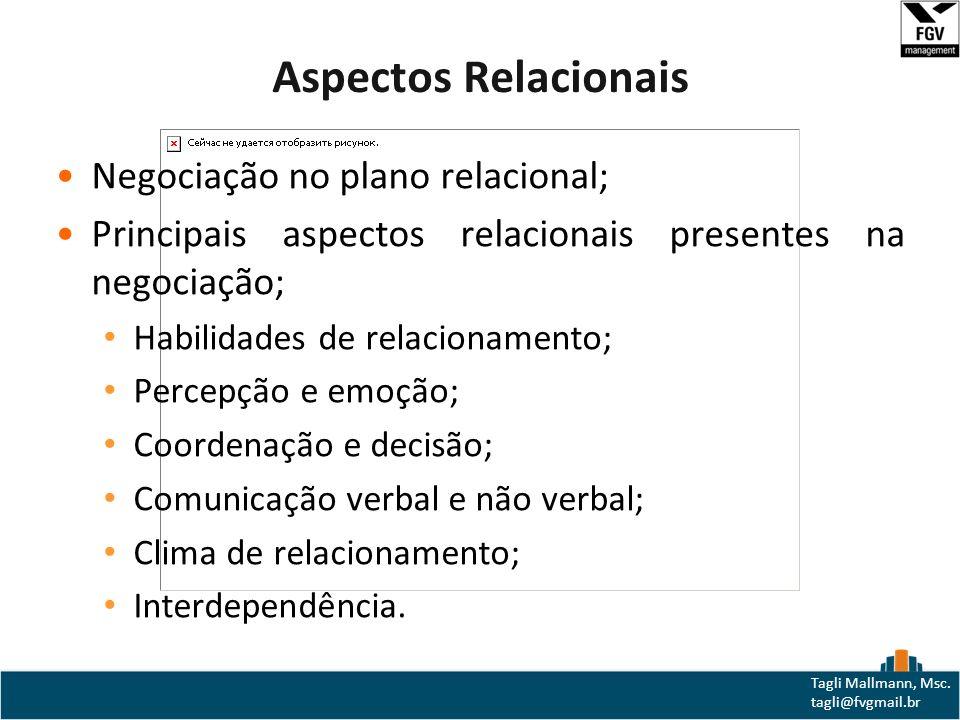 Aspectos Relacionais Negociação no plano relacional;