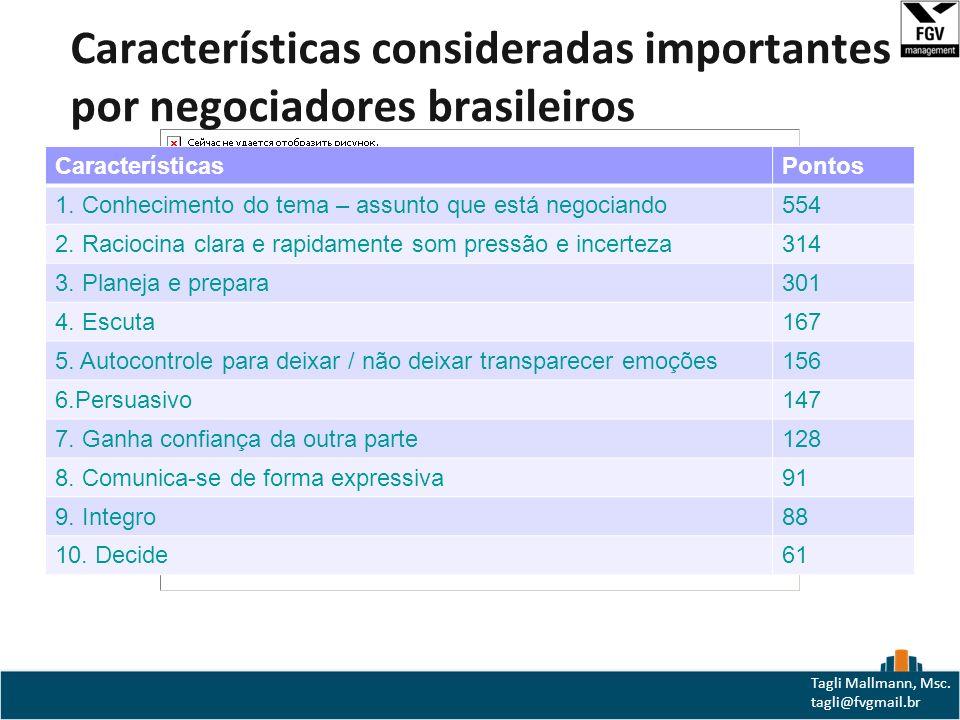 Características consideradas importantes por negociadores brasileiros