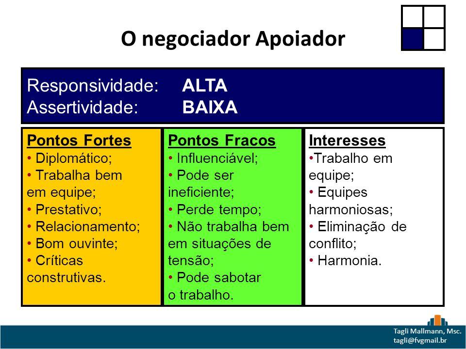 O negociador Apoiador Responsividade: ALTA Assertividade: BAIXA