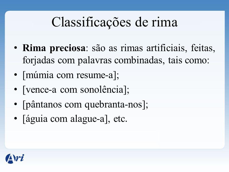Classificações de rima